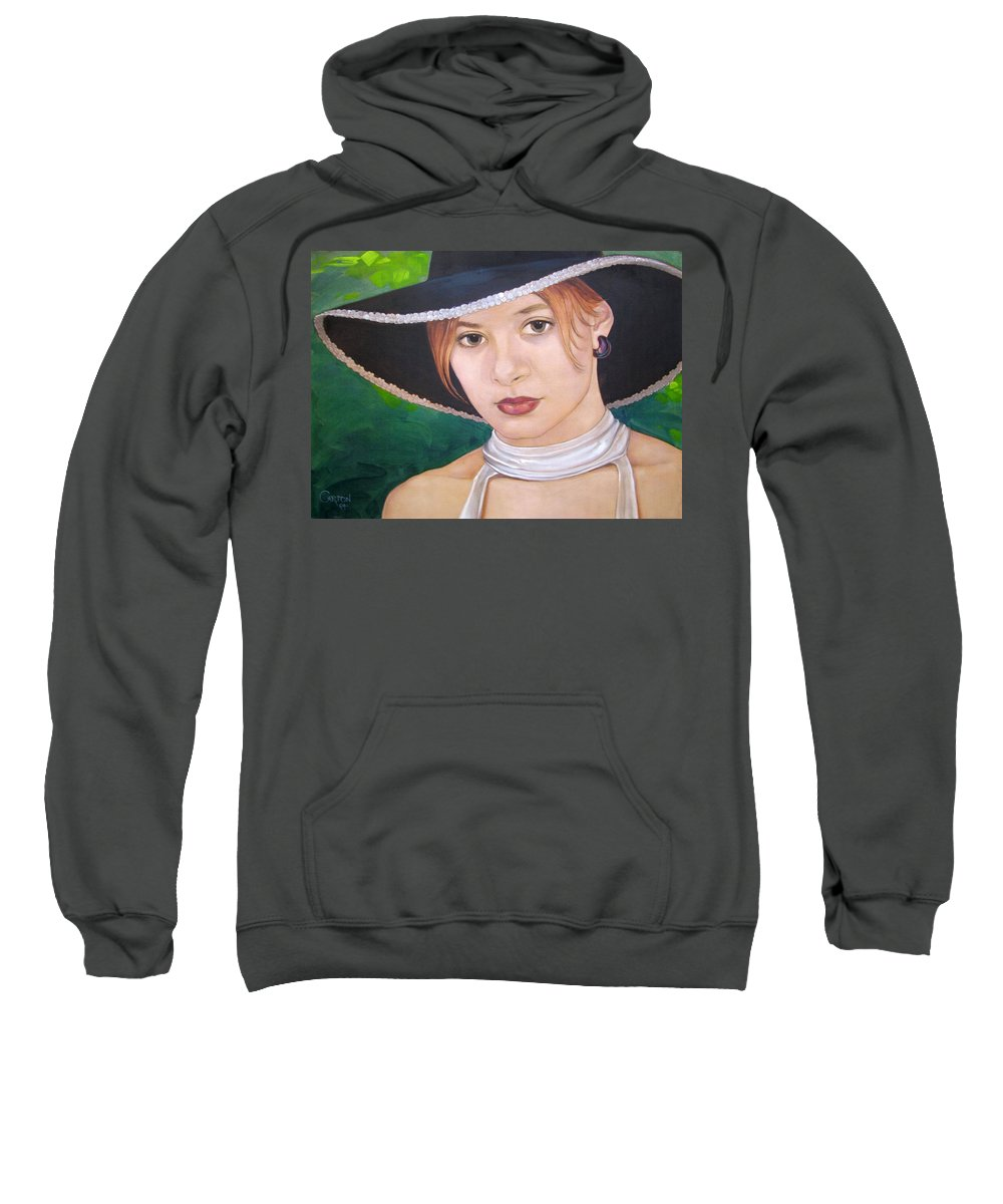 Pretty Girl Sweatshirt featuring the painting Alexis by Jerrold Carton