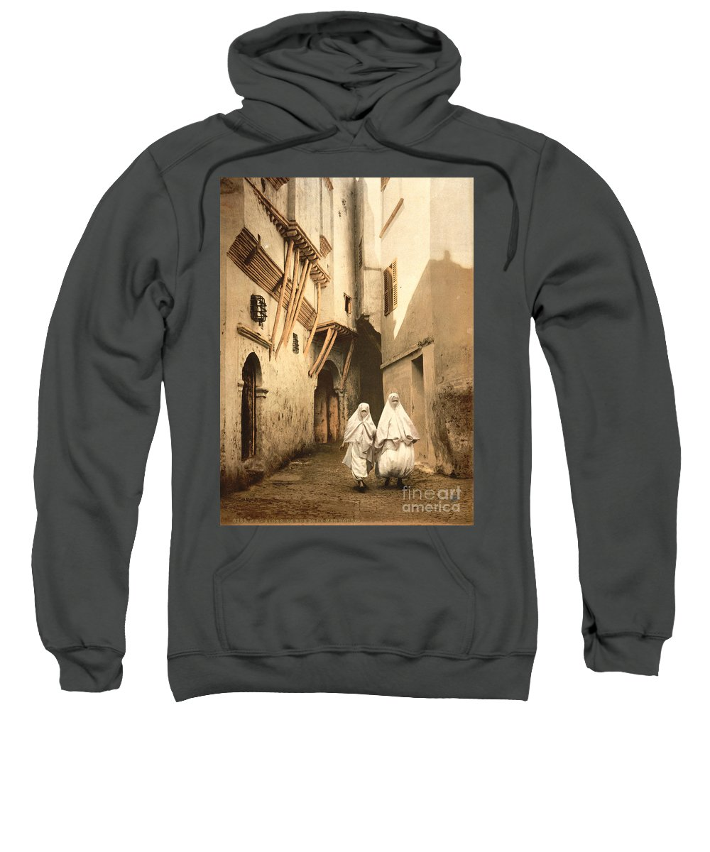 1899 Sweatshirt featuring the photograph Algeria: Street Scene, C1899 by Granger