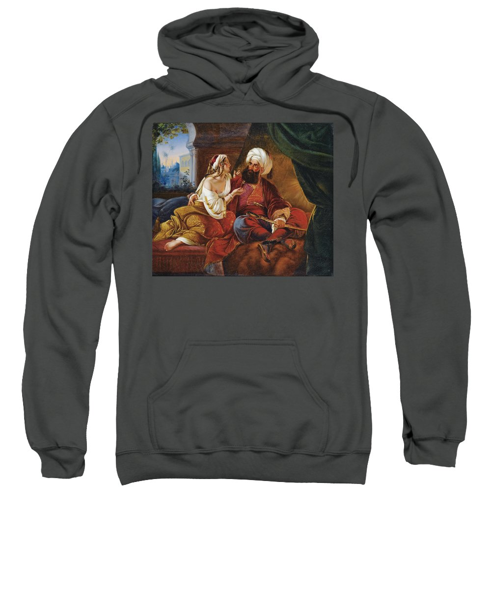 Attributed To Paul Emil Jacobs Sweatshirt featuring the painting Ali Pacha And Kyra Vassiliki by Attributed to Paul Emil Jacobs