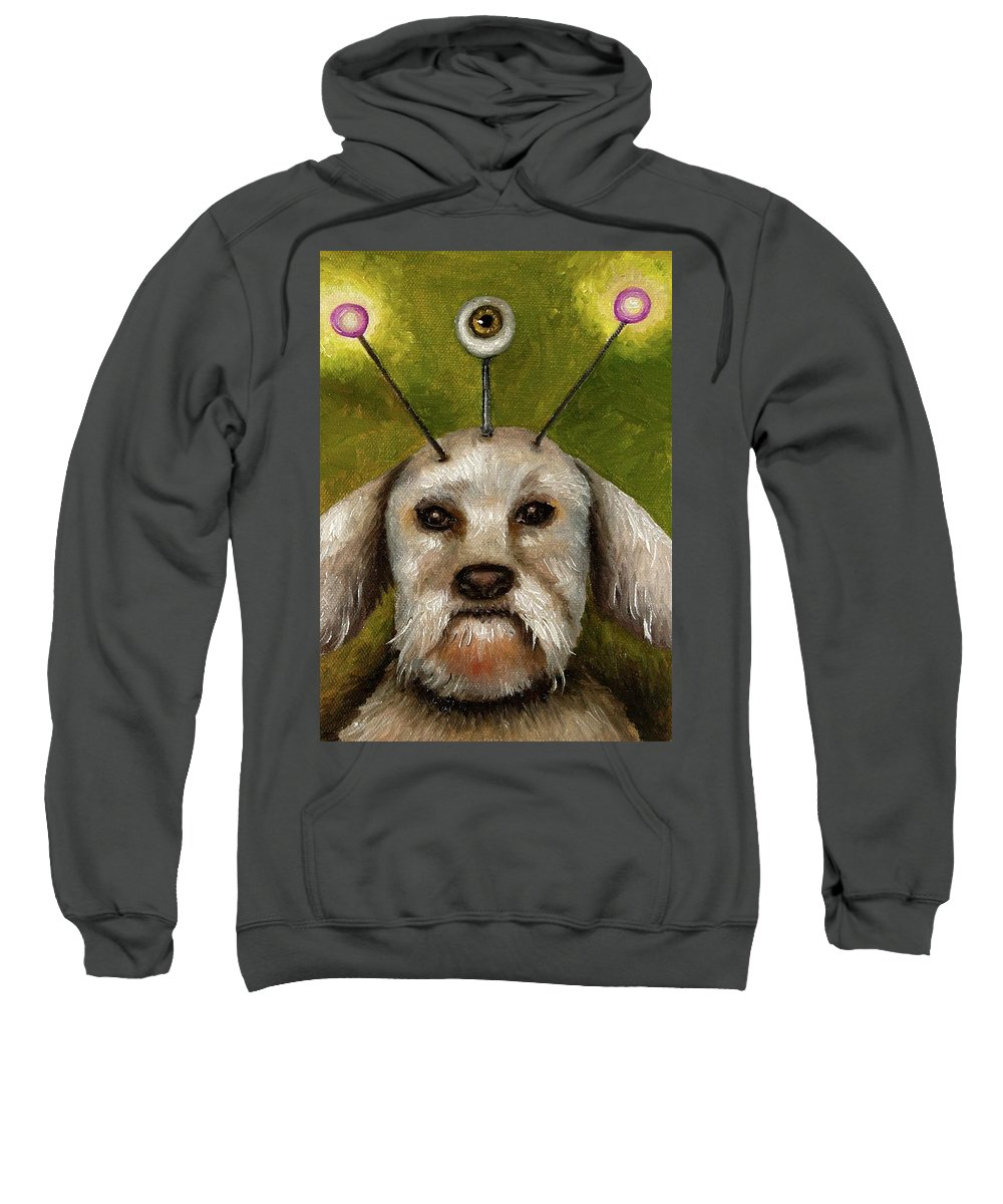 Dog Sweatshirt featuring the painting Alien Dog by Leah Saulnier The Painting Maniac