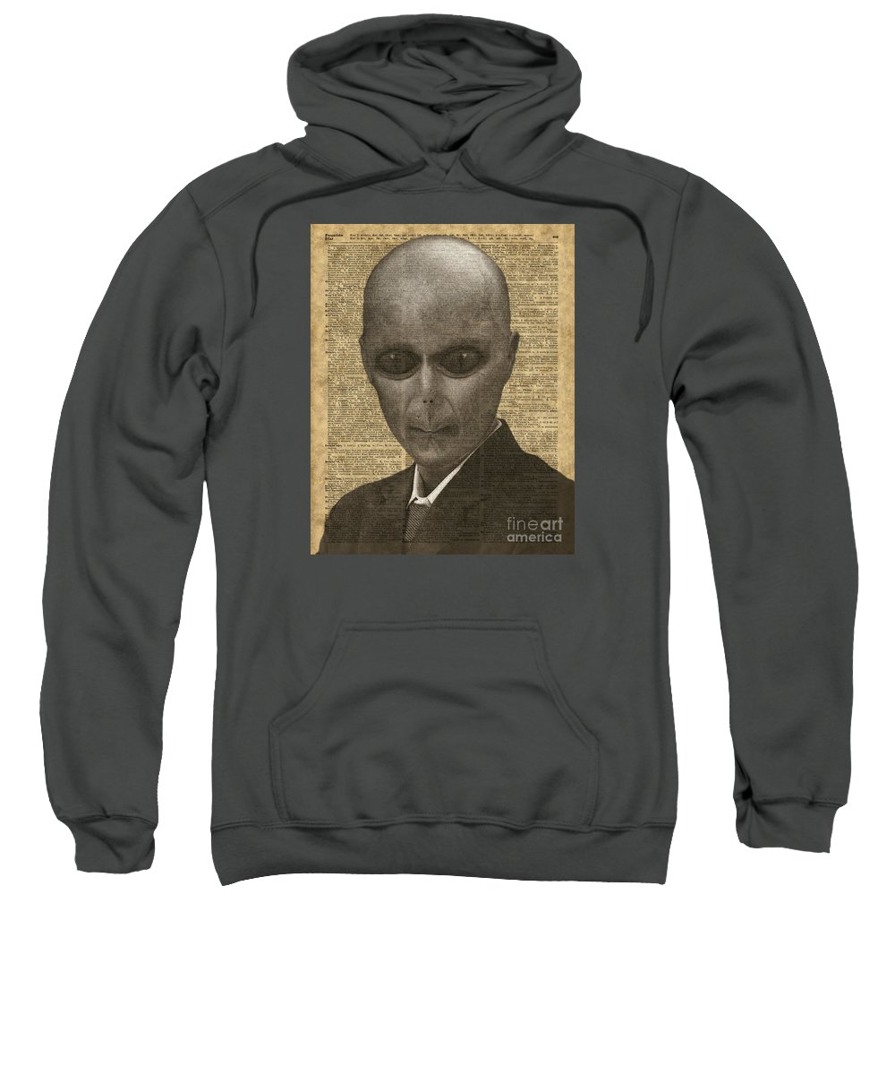Vintage Alien Sweatshirt featuring the photograph Alien Over Dictionary Page by Anna W