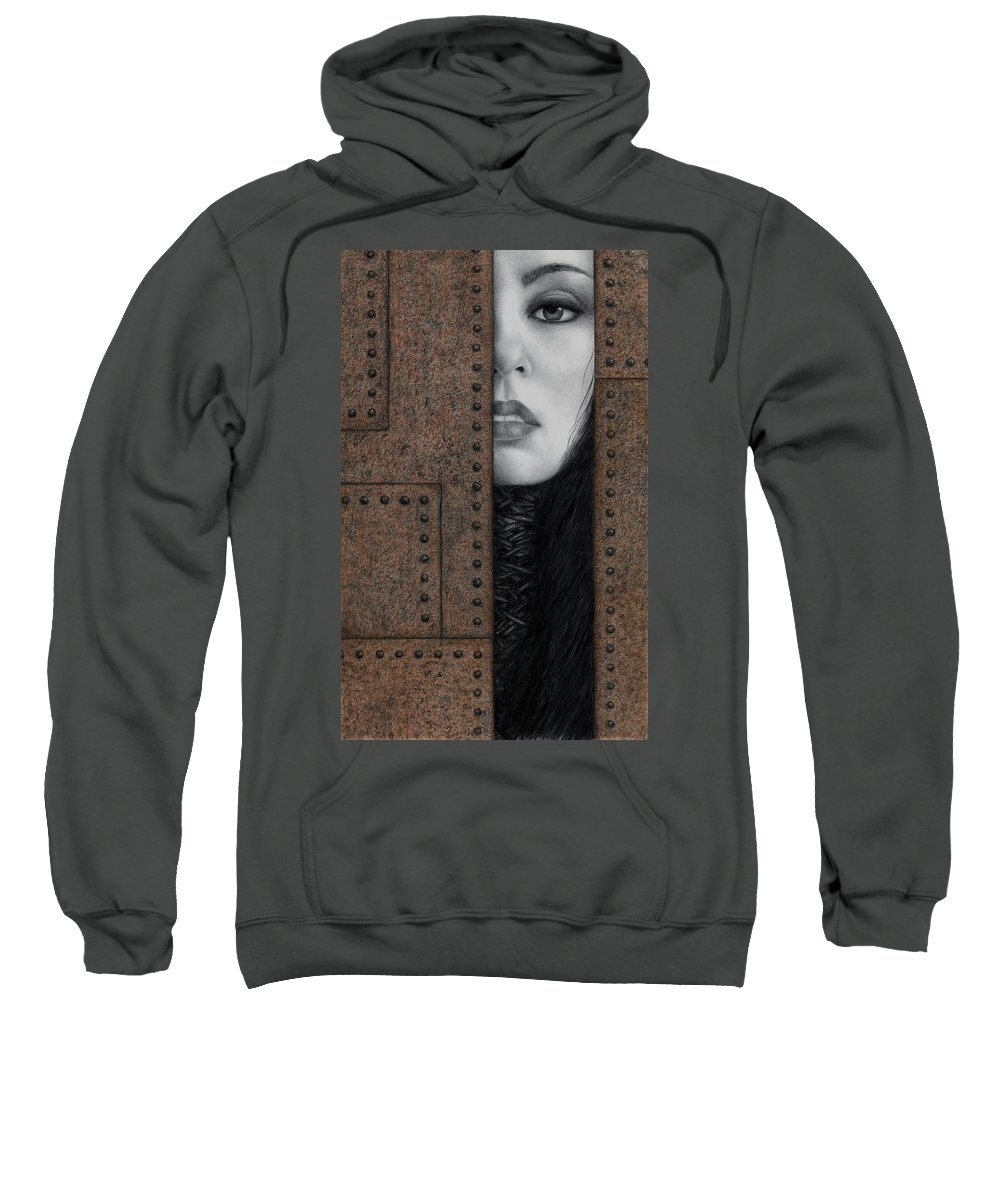 Surreal Sweatshirt featuring the painting Alienation by Pat Erickson