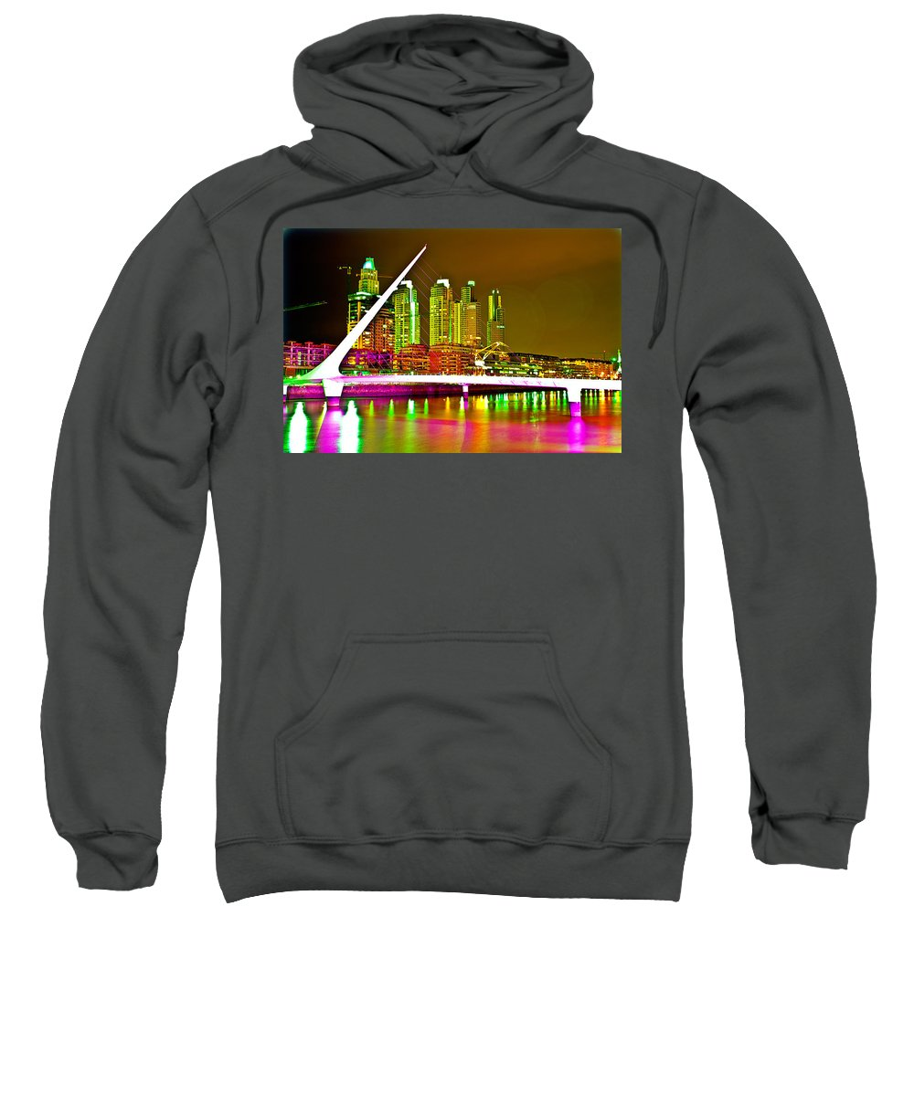 Buenos Sweatshirt featuring the photograph All Night Puerto Madero by Francisco Colon