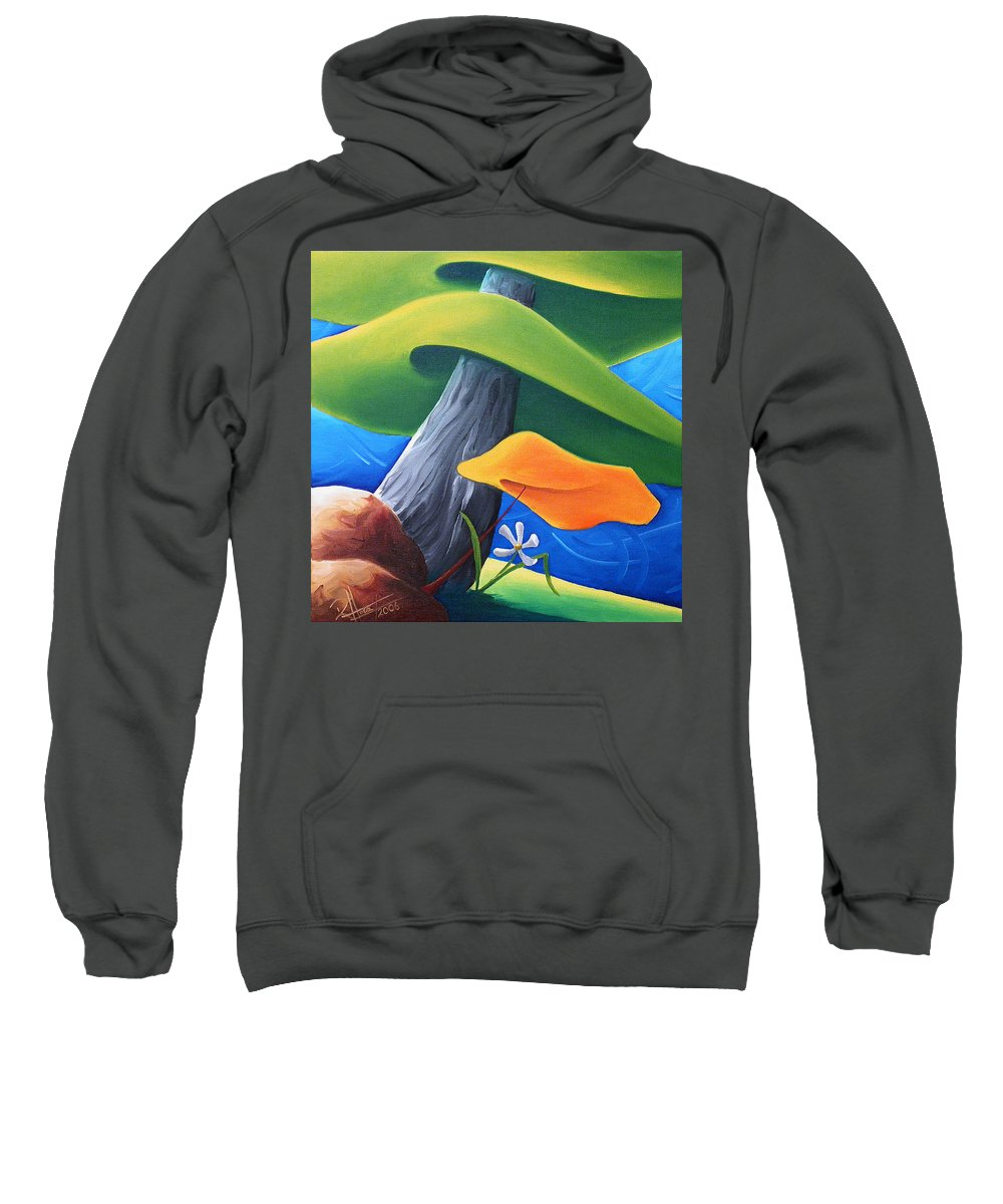 Landscape Sweatshirt featuring the painting All Under One Roof by Richard Hoedl