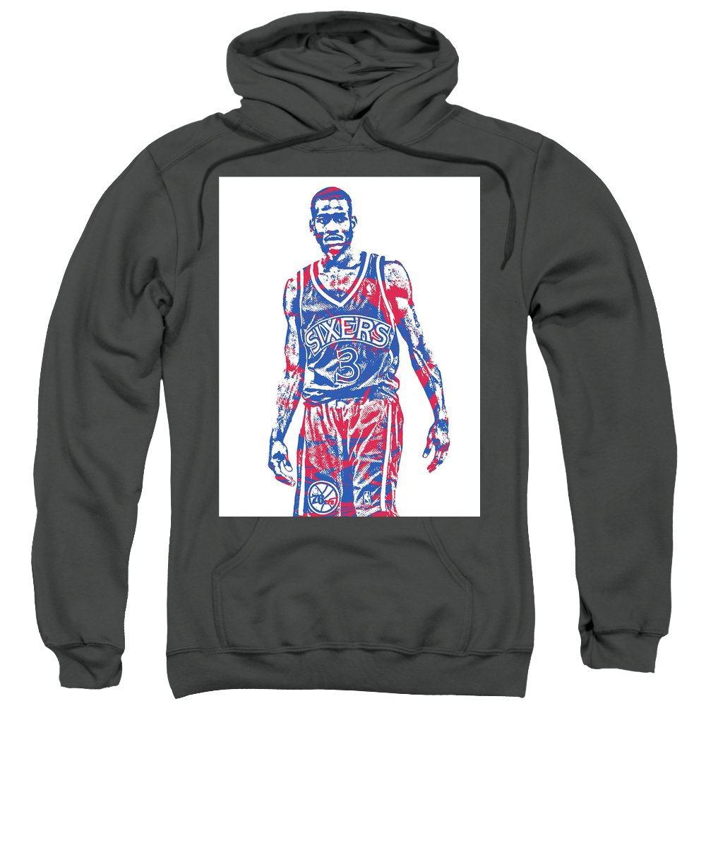 39257542 Allen Iverson Sweatshirt featuring the mixed media Allen Iverson  Philadelphia 76ers Pixel Art 19 by Joe