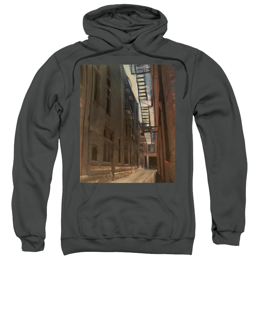Alley Sweatshirt featuring the painting Alley Series 5 by Anita Burgermeister