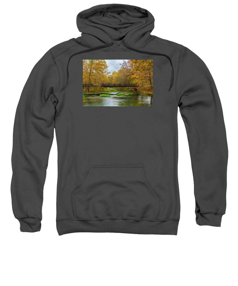 Alley Mill Sweatshirt featuring the photograph Alley Spring River by Jennifer White