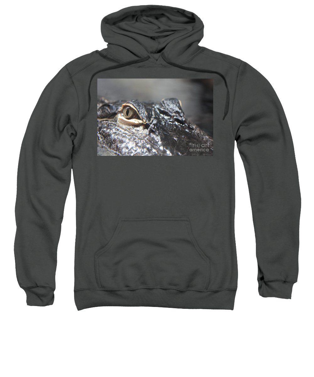 Alligator Sweatshirt featuring the photograph Alligator Eye by Carol Groenen