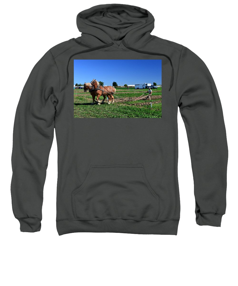 Horses Sweatshirt featuring the photograph Almost Finished The Row Two by Lyle Crump