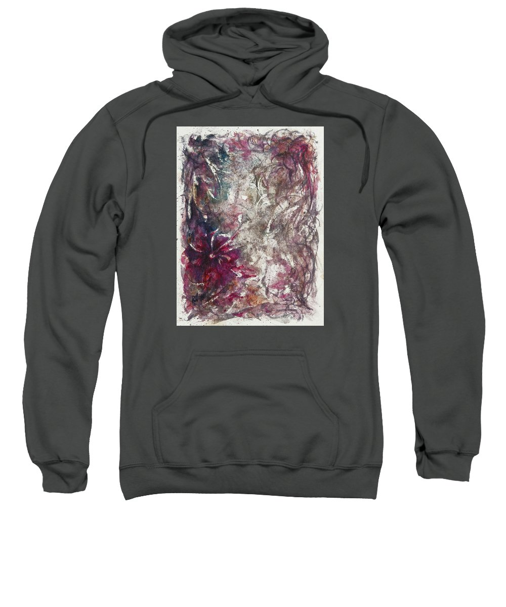 Abstract Sweatshirt featuring the painting Along A Narrow Path by Rachel Christine Nowicki
