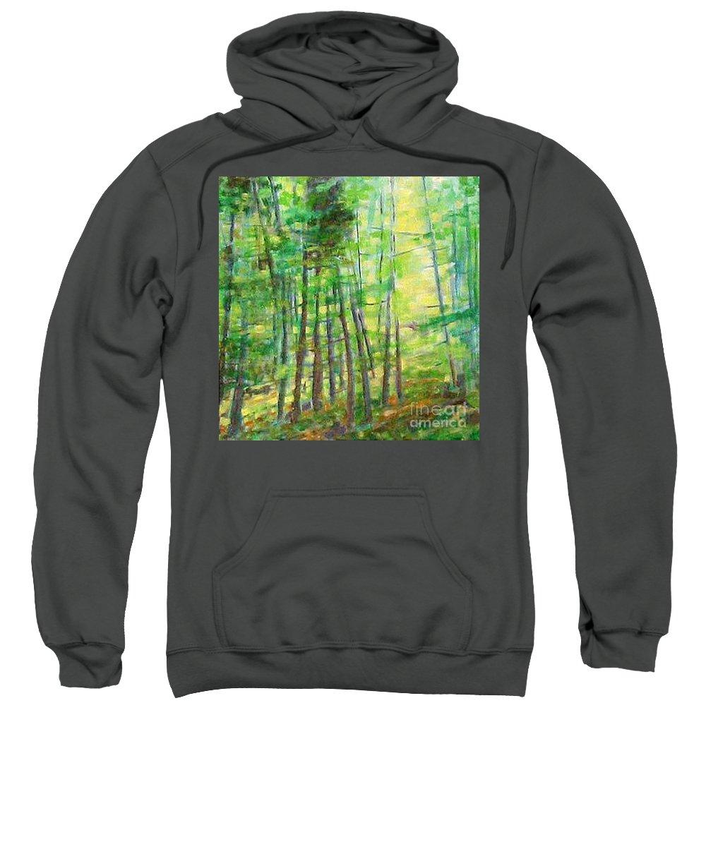 Landscape Sweatshirt featuring the painting Along Buckslide Road by Karen Sloan