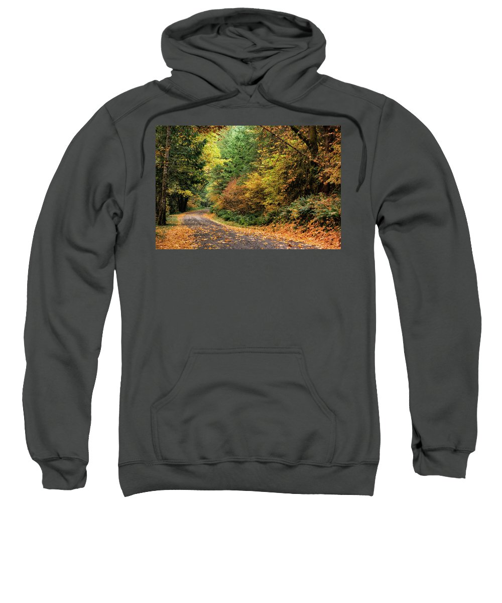 Fall Colors Sweatshirt featuring the photograph Along More Random Fallen Roads... by Wasim Muklashy