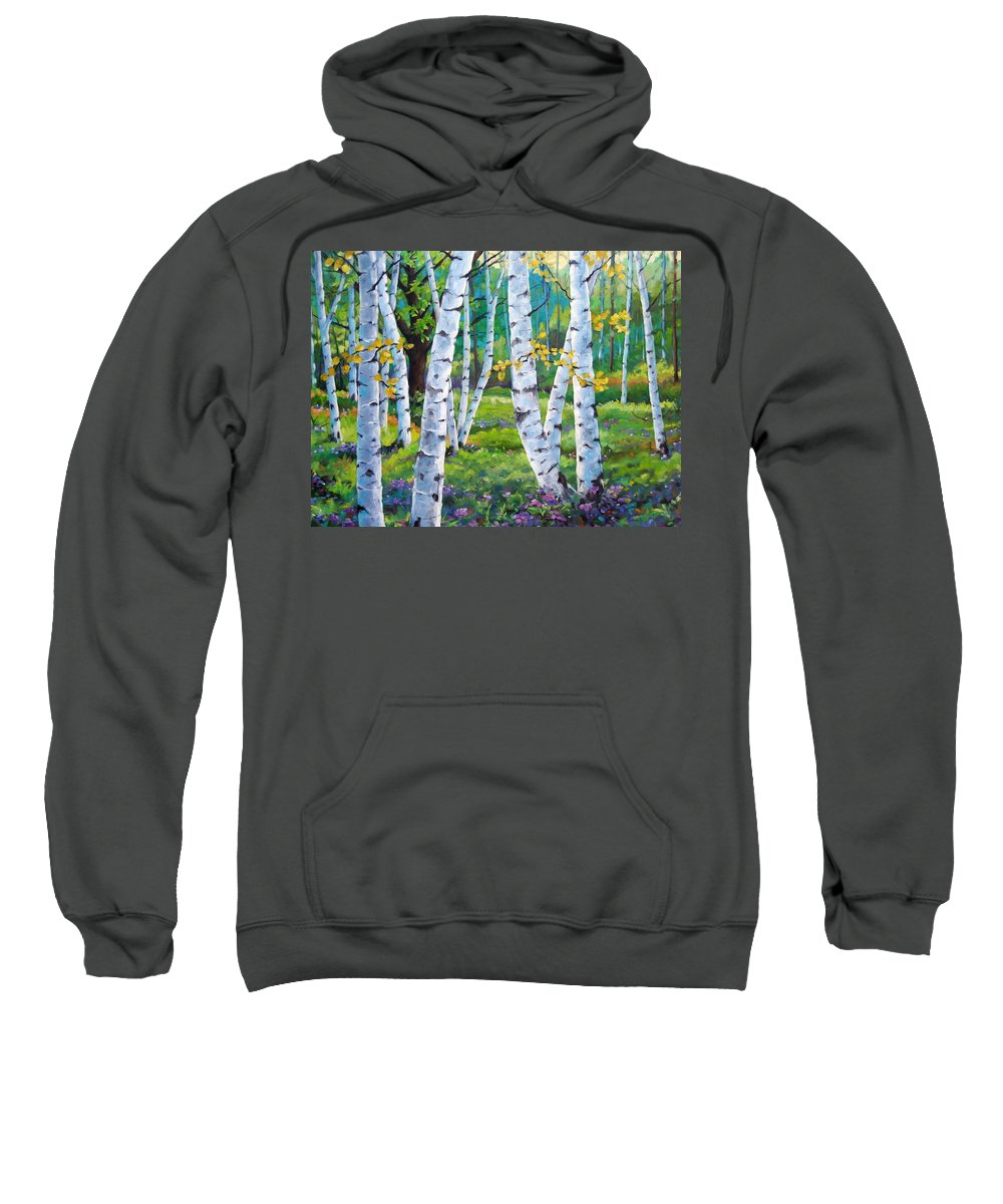 Birche; Birches; Tree; Trees; Nature; Landscape; Landscapes Scenic; Richard T. Pranke; Canadian Artist Painter Sweatshirt featuring the painting Alpine Flowers And Birches by Richard T Pranke