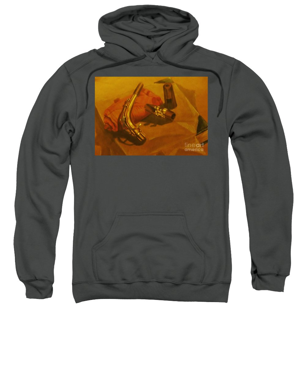 Still Life Sweatshirt featuring the drawing Alto Saxophone Neck And Mouthpiece by Jamey Balester