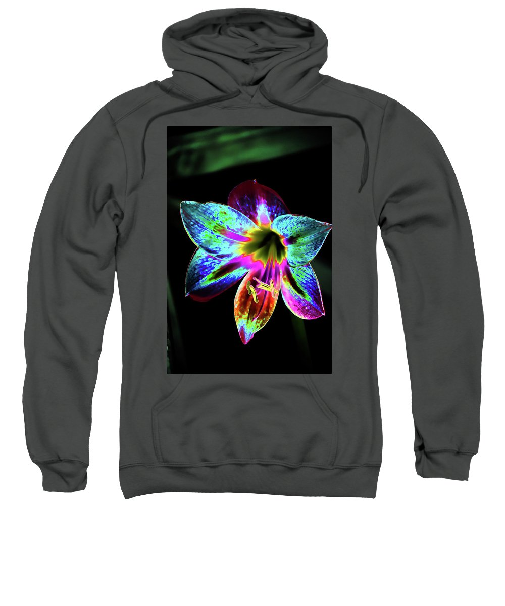 Flower Sweatshirt featuring the mixed media Amaryllis In Neon by Lesa Fine