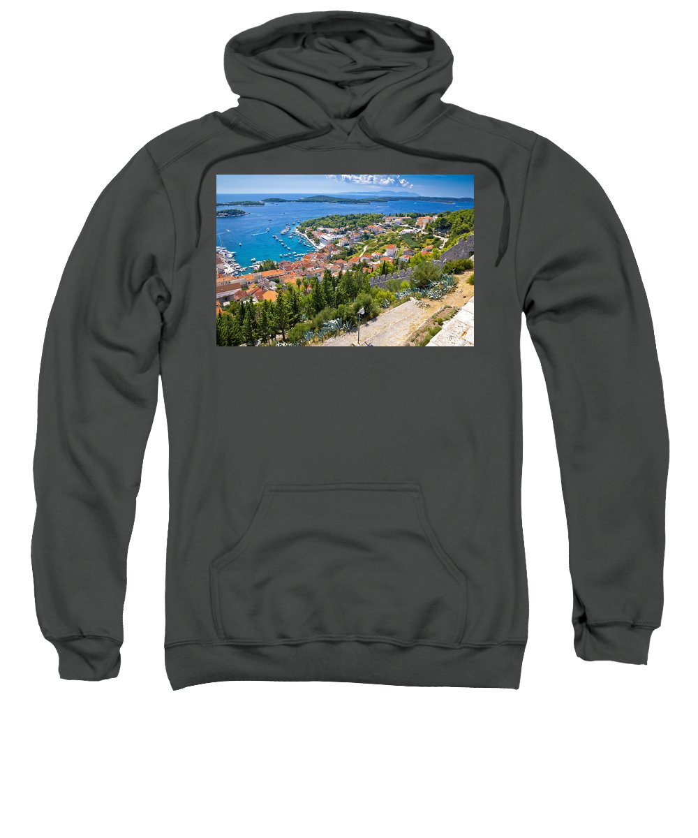 Panorama Sweatshirt featuring the photograph Amazing Historic Town Of Hvar Aerial View by Brch Photography
