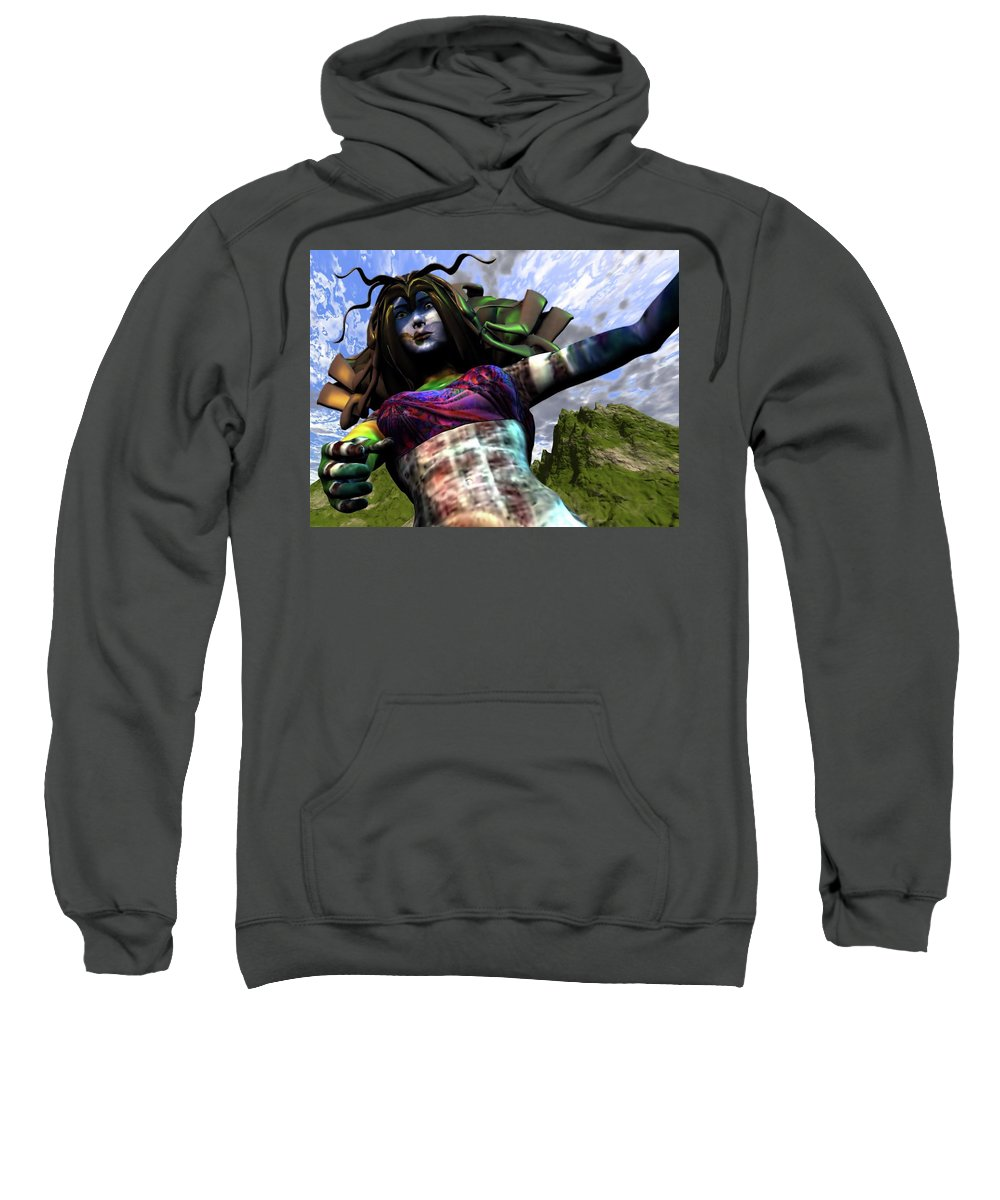 Amazon Sweatshirt featuring the digital art Amazon Rescue by Dave Martsolf