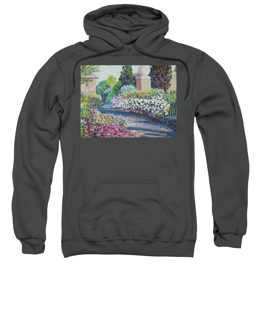 Flowers Sweatshirt featuring the painting Amelia Park Pathway by Richard Nowak