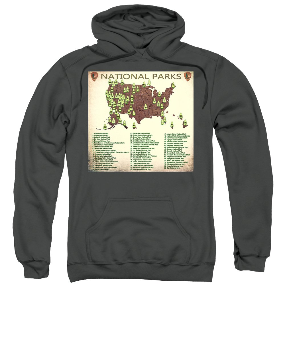 America National Parks Map Sweatshirt featuring the mixed media America National Parks Map by Dan Sproul