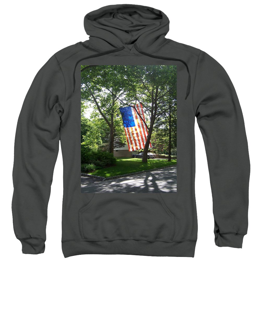 American Flag Sweatshirt featuring the photograph America The Beautiful by Laurie Paci