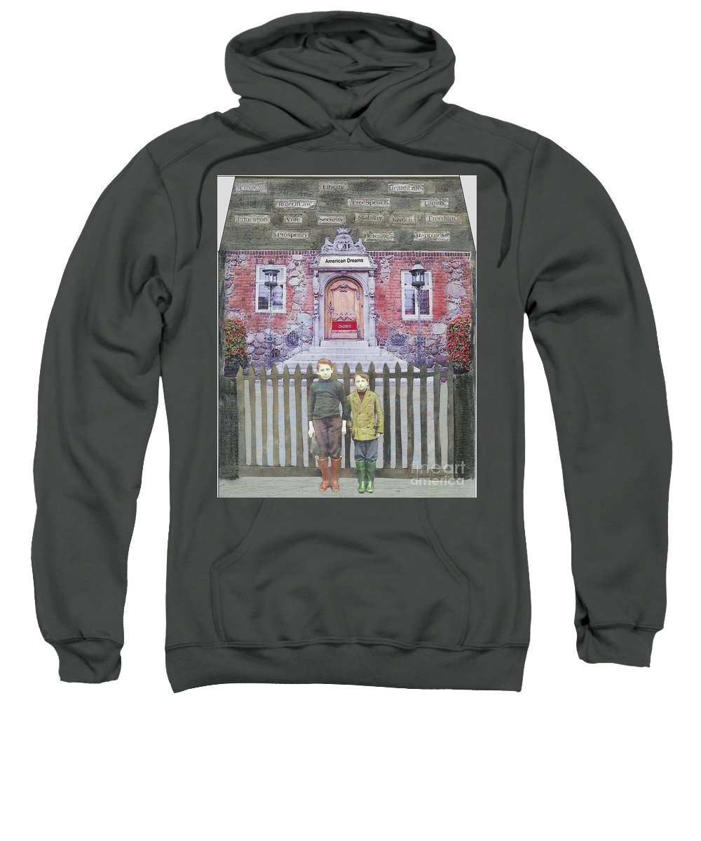American Dream Sweatshirt featuring the mixed media American Dreams by Desiree Paquette