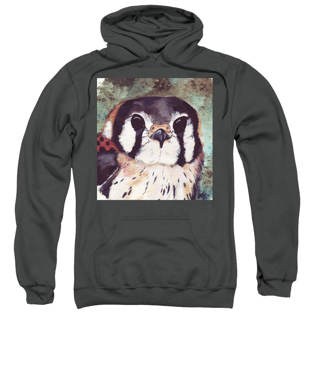 Raptor Sweatshirt featuring the painting American Kestrel by Debra Sandstrom
