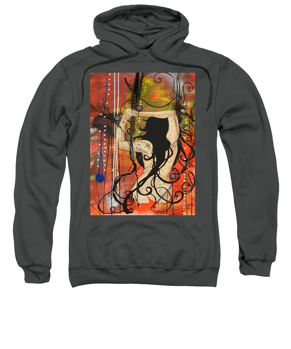 Woman Sweatshirt featuring the painting American Witch by Sheridan Furrer