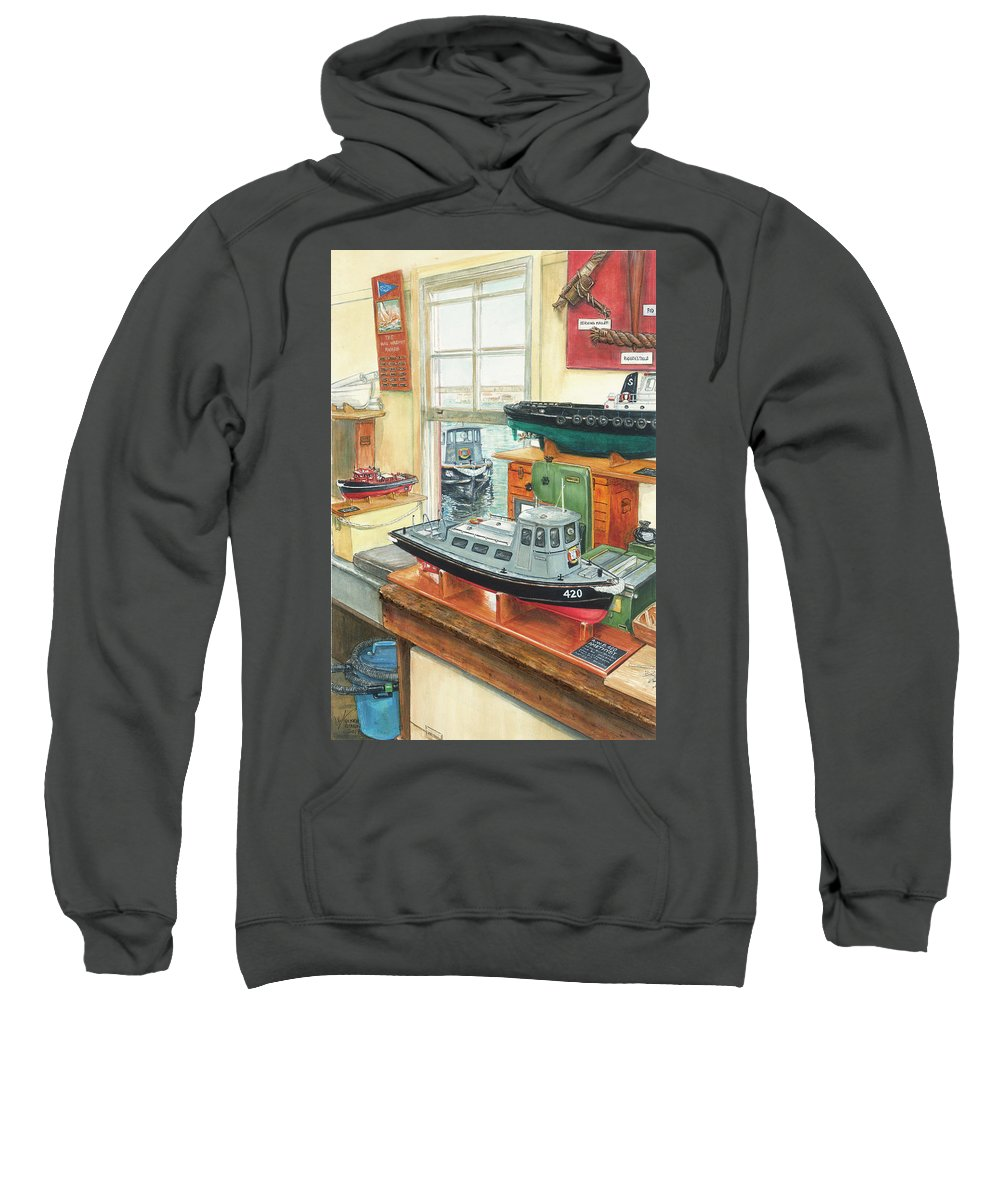 Royal Australian Navy Sweatshirt featuring the painting Amethyst Australian Work Boat 420 by Victoria Kitanov