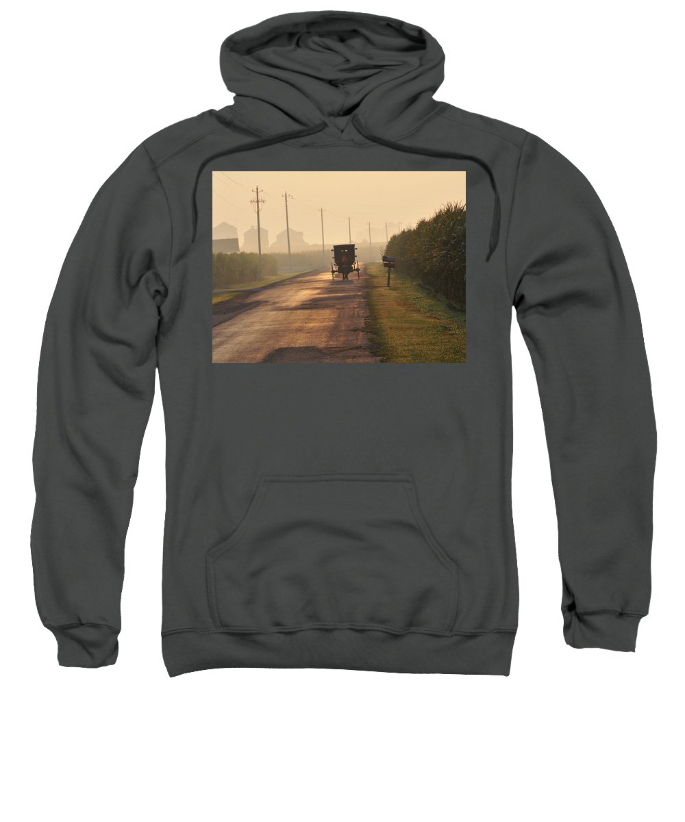 Amish Buggy Sweatshirt featuring the photograph Amish Buggy And Corn Over Your Head by David Arment