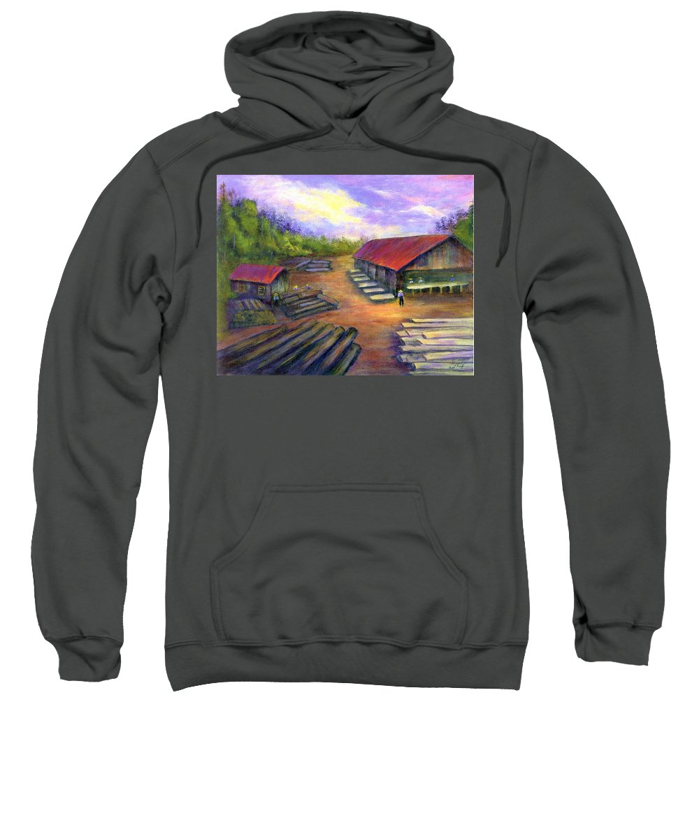 Amish Sweatshirt featuring the painting Amish Lumbermill by Gail Kirtz