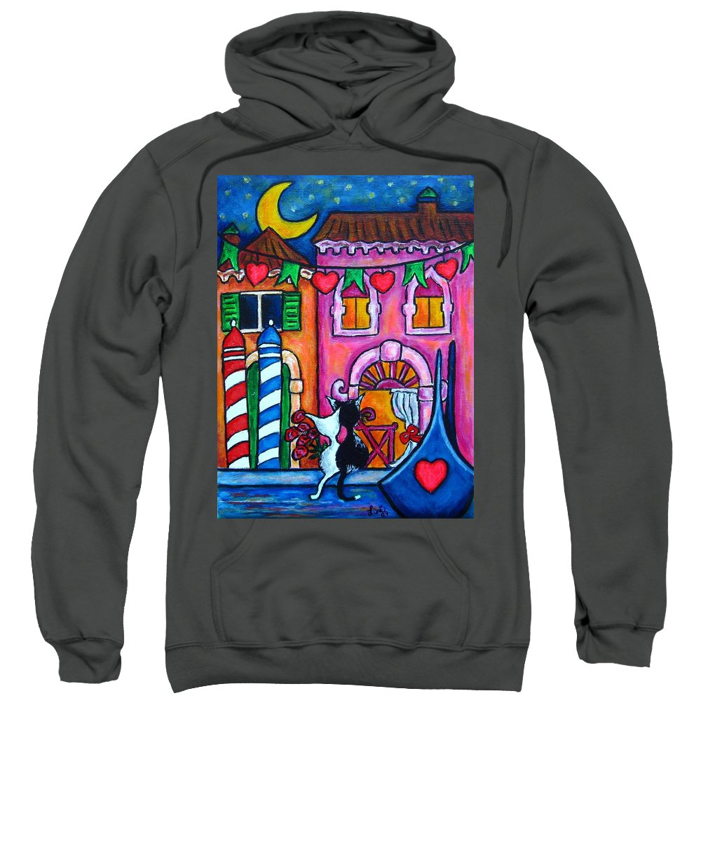 Cats Sweatshirt featuring the painting Amore In Venice by Lisa Lorenz