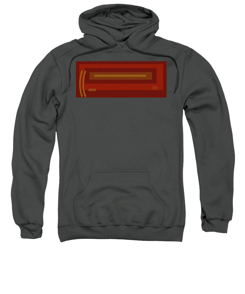 Amore Sweatshirt featuring the digital art Amore Red by Anne Cameron Cutri