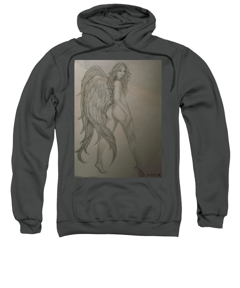 Angel Sweatshirt featuring the drawing An Angel by Glory Fraulein Wolfe