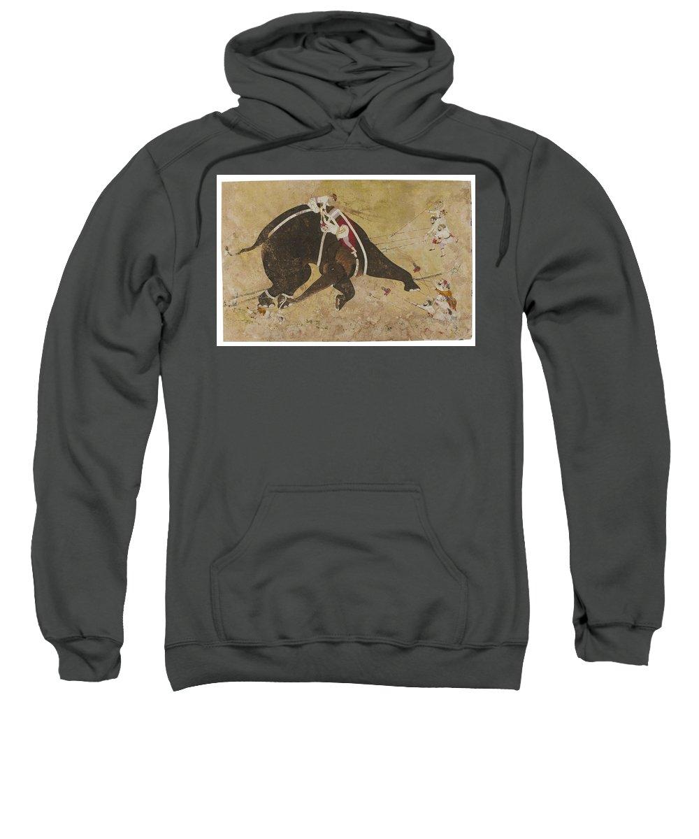 An Enraged Elephant Sweatshirt featuring the painting An Enraged Elephant by Eastern Accents