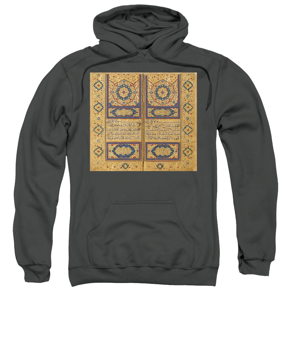 An Exceptional Illuminated Qur'an By Ahmad Al-nayrizi Sweatshirt featuring the painting An Exceptional Illuminated by Ahmad