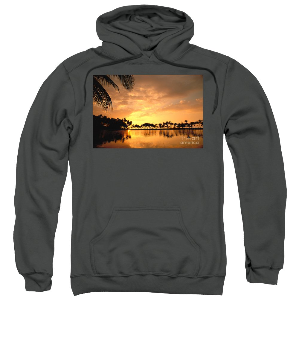 Anaeho'omalu Sweatshirt featuring the photograph Anaehoomalu Bay Sunset by William Waterfall - Printscapes