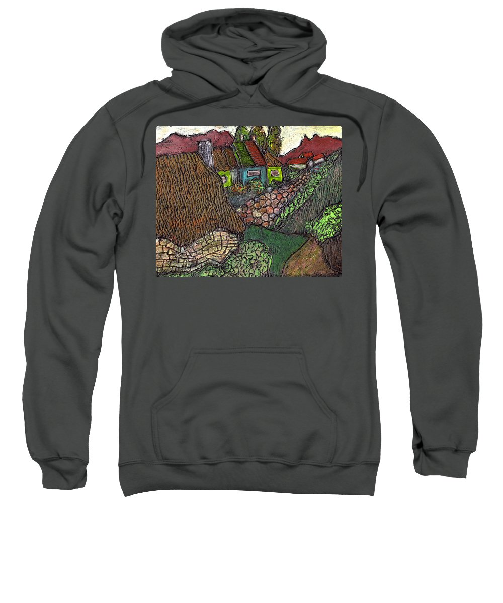 Ancient Village Sweatshirt featuring the painting Ancient Village by Wayne Potrafka
