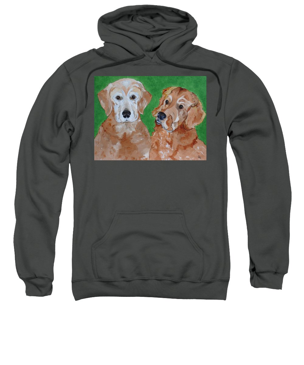 Golden Retrievers Sweatshirt featuring the painting Andy And Max by Georgia Donovan