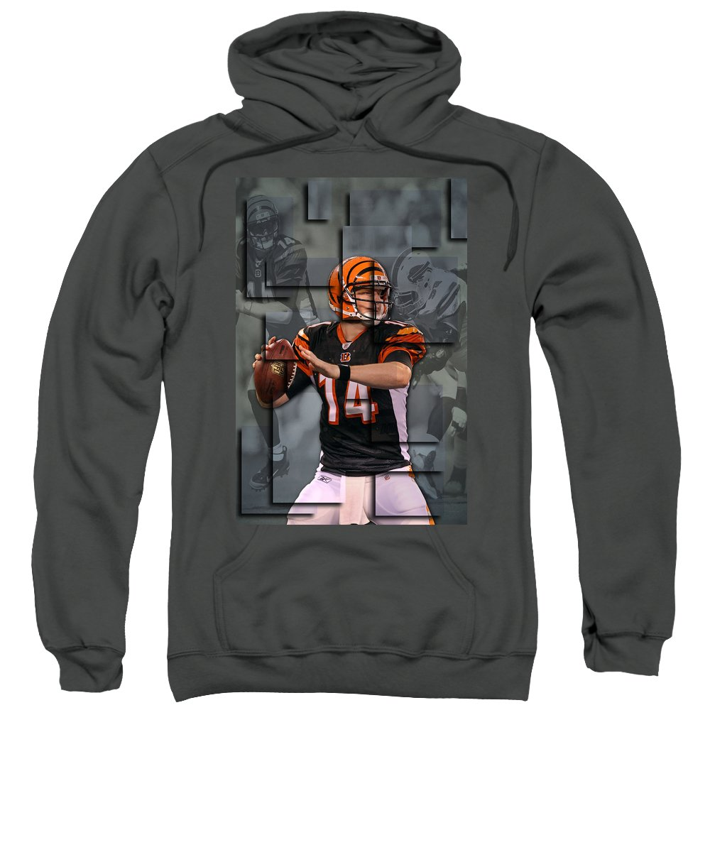 Bengals Sweatshirt featuring the photograph Andy Dalton Cincinnati Bengals Blocks by Joe Hamilton