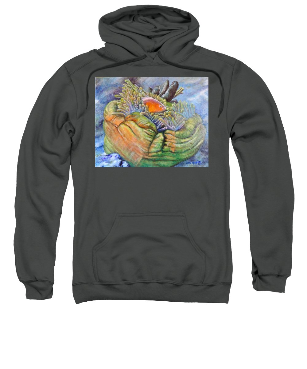 Coral Sweatshirt featuring the painting Anemone Coral And Fish by Jodi Higgins