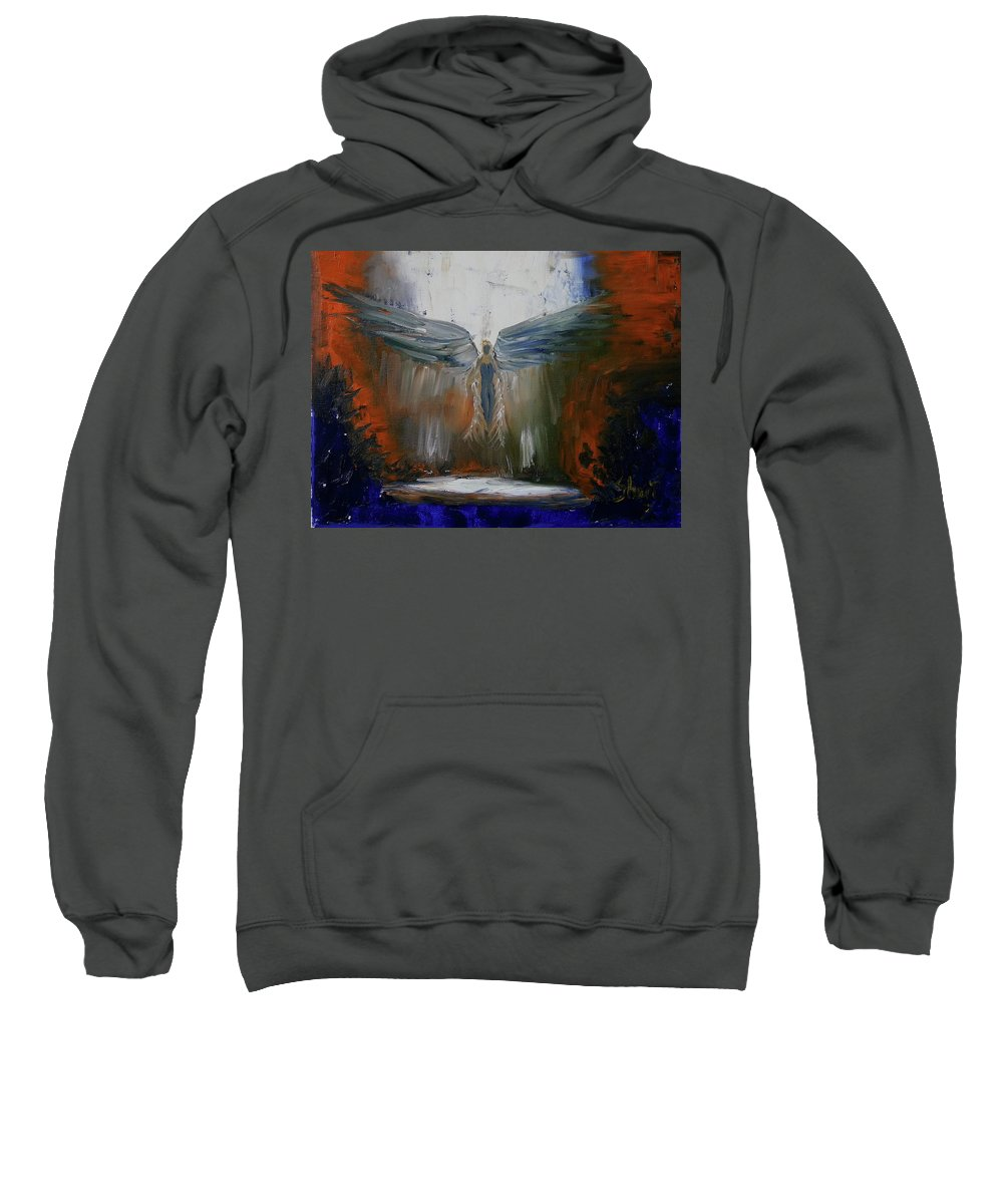 Angel Sweatshirt featuring the painting Angel Abstract by Sheri Shirangi