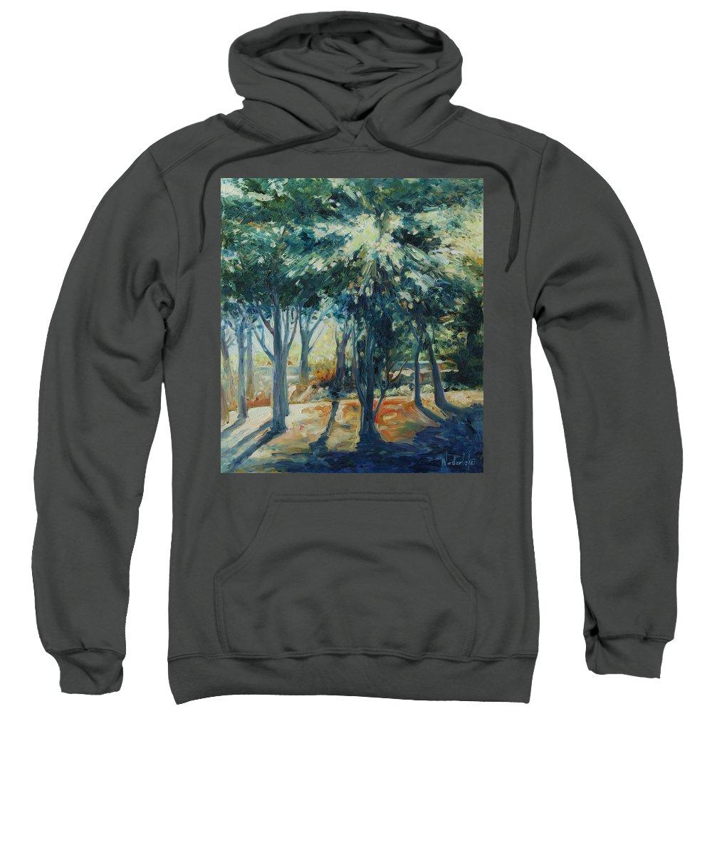 Trees Sweatshirt featuring the painting Angel Rays by Rick Nederlof