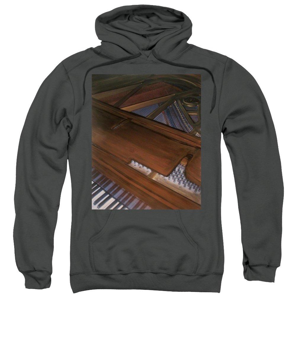 Piano Sweatshirt featuring the mixed media Anita's Piano 2 by Anita Burgermeister