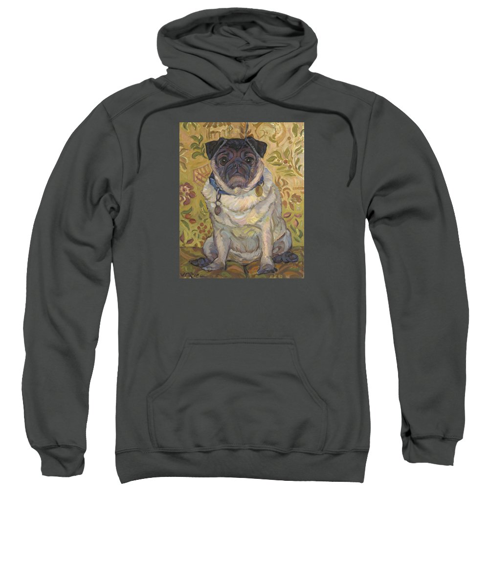 Pug Sweatshirt featuring the painting Pug by Jane Oriel