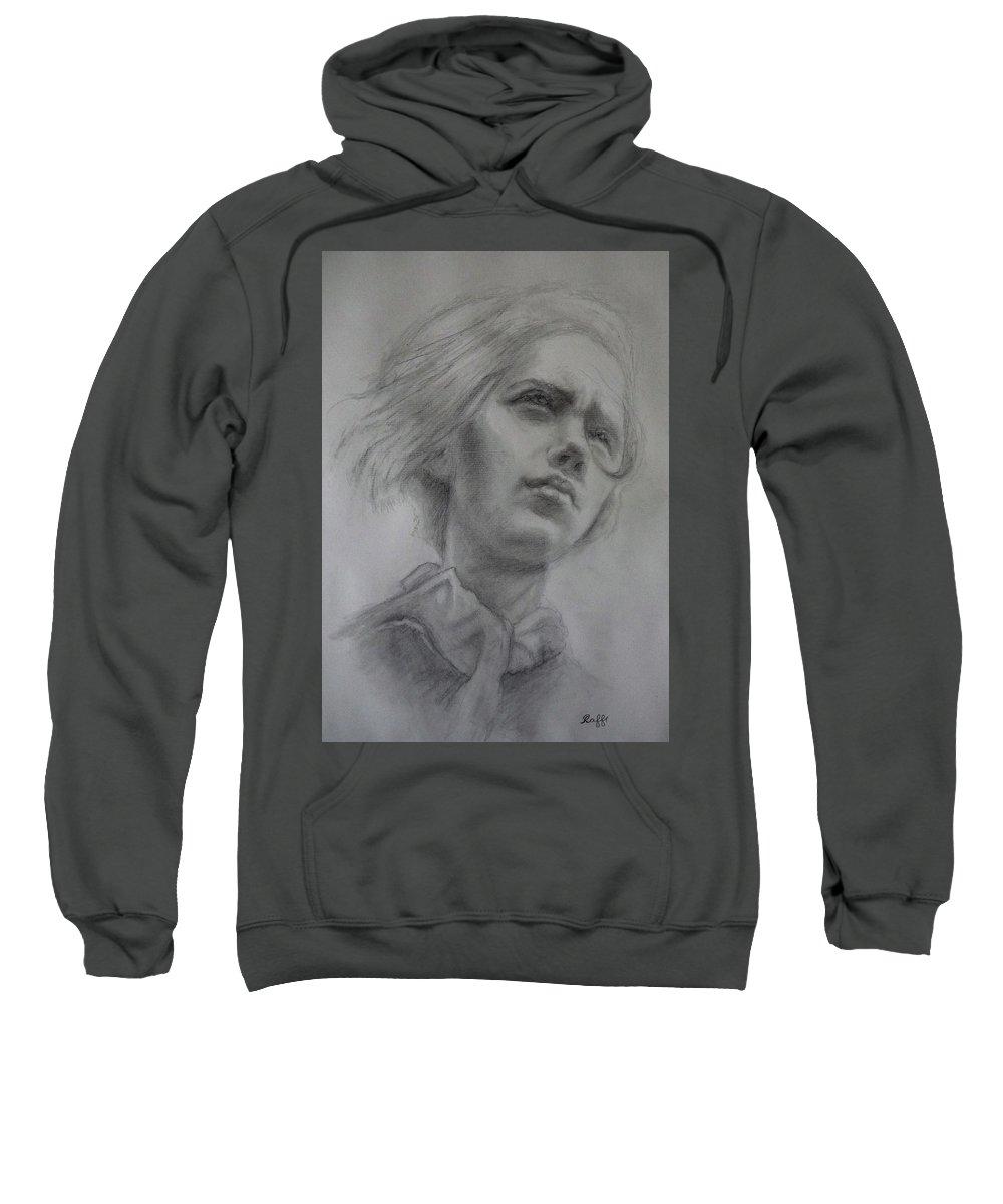Girl Sweatshirt featuring the drawing Anoushka by Raffi Jacobian
