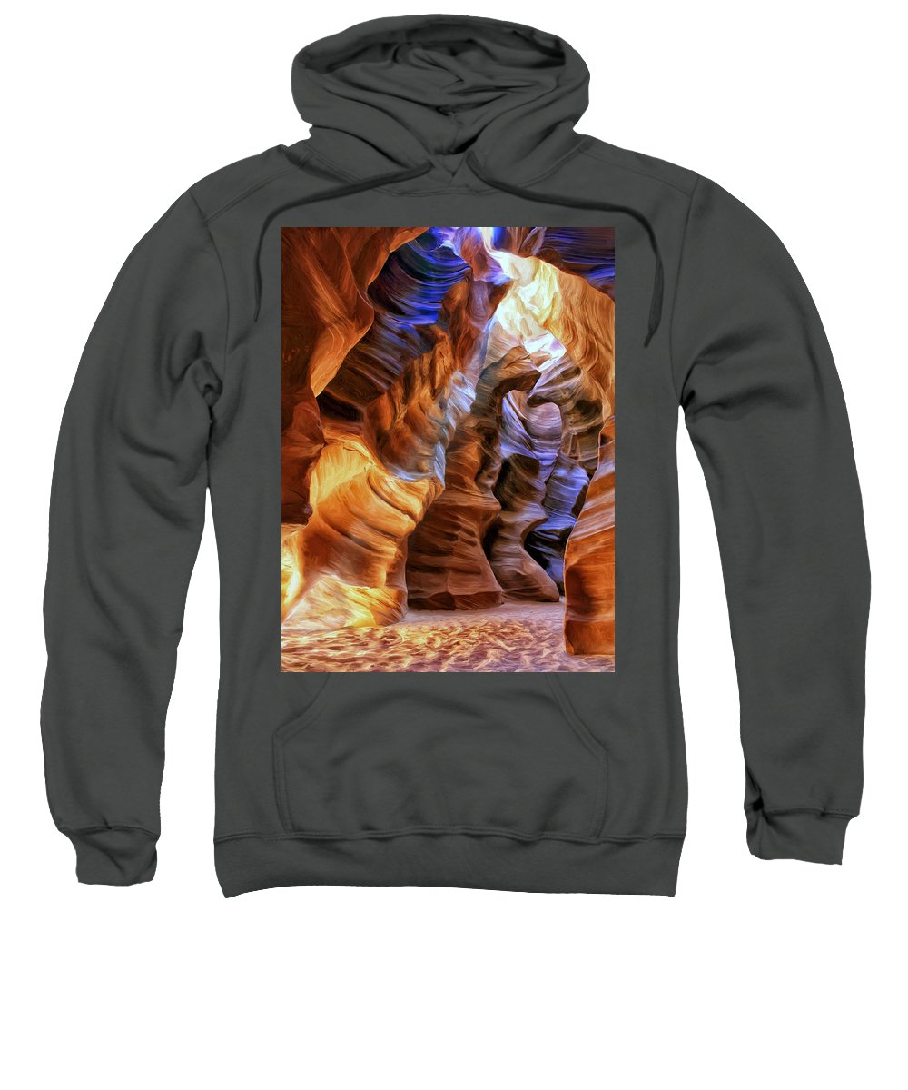 Antelope Canyon Sweatshirt featuring the painting Antelope Canyon by Dominic Piperata