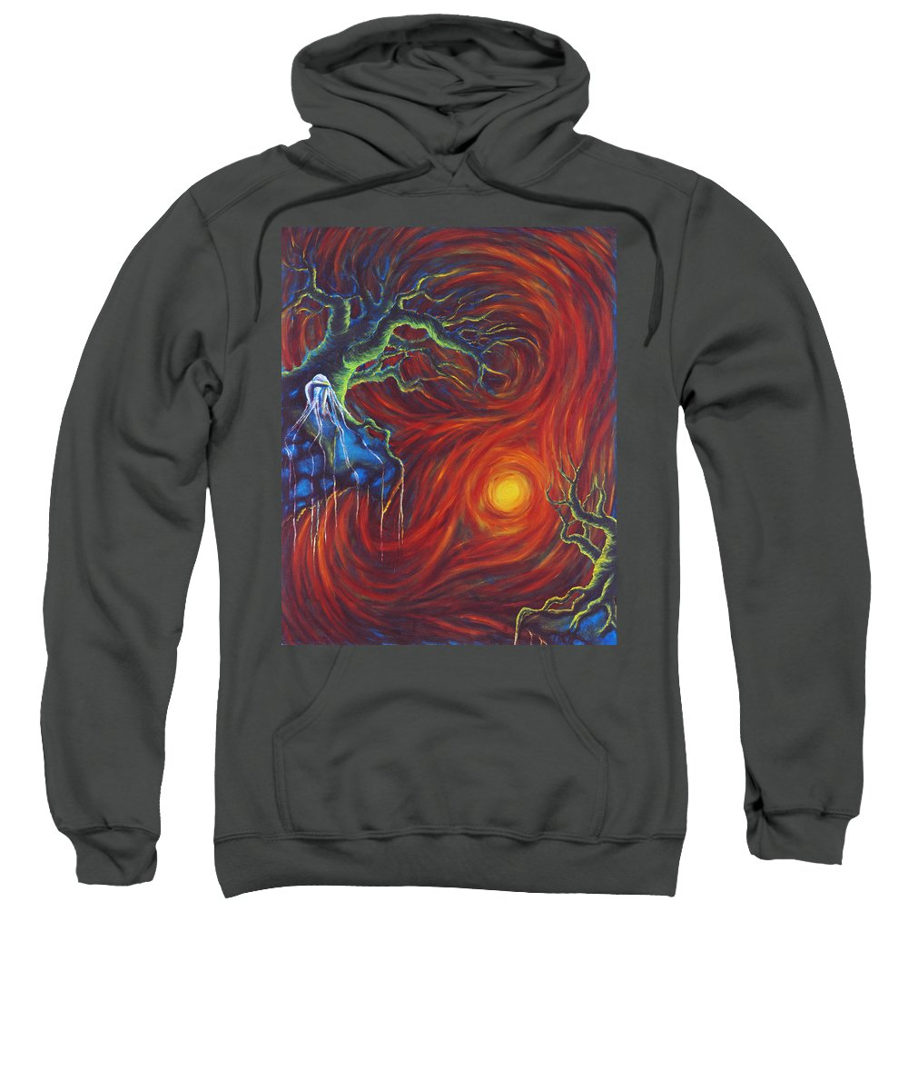 Tree Paintings Sweatshirt featuring the painting Anxiety by Jennifer McDuffie