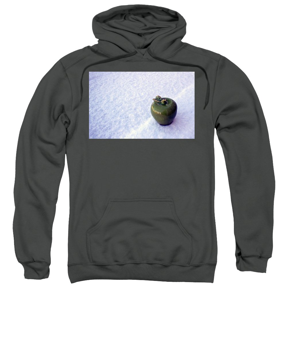 Green Sweatshirt featuring the photograph Apple On Snow by Michel Poulin