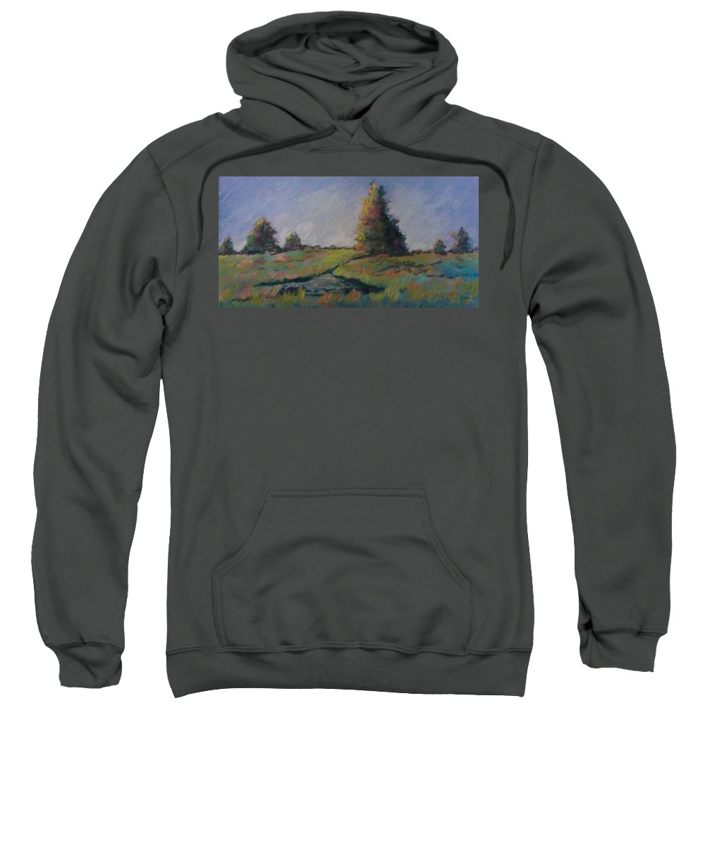 Landscape Sweatshirt featuring the pastel Apple Pond by Pat Snook