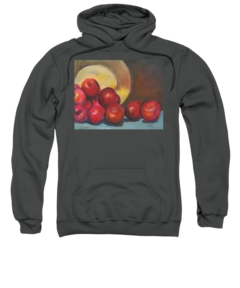Apples Sweatshirt featuring the painting Apples by Melody Horton Karandjeff
